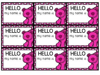 Bear lanyard name tag inserts
