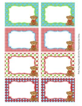 Bear with Apple Bin Labels