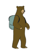 Bear with Backpack Clip Art