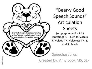 Bear-y Good Speech Articulation Practice Sheets