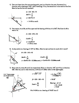 Bearings and Trigonometry Questions