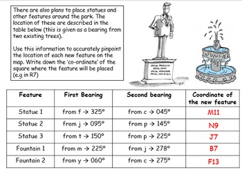 Bearings worksheet and answers (measuring out and drawing bearings accurately)