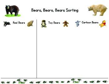 Bears, Bears, Bears (Real, Cartoon, Toy) Sorting Science Table Activity