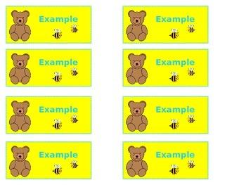 Bears & Bees Carpet Name Tags