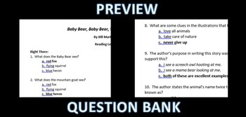 3 Book; Bill Martin Jr. Bundle- Question Bank; Guided Reading Level I