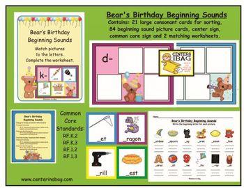 Bear's Birthday Beginning Sounds (RF.K.2, RF.K.3, RF.1.2, RF.1.3
