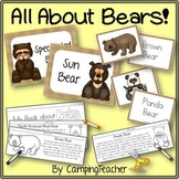 Bear Activities Book to Cut and Create, Matching Cards for Centers, and Posters