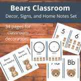Bears Classroom: Decor, Signs, Home Notes, and More for Pr
