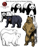 Bears Clipart and Line art - Personal and Commercial Use