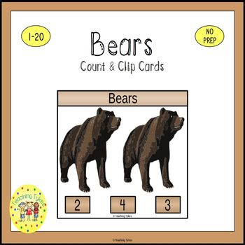 Bears Count and Clip Task Cards