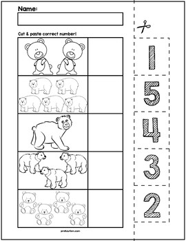Bears Cut & Match Worksheets | Numbers 1-5
