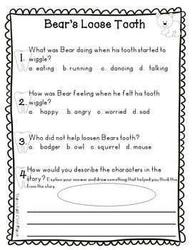 Bears Loose Tooth Story Activities Common Core Story Responses