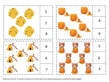 Count and Clip Cards Bears Love Honey Count to 20  P-K, K, Special Ed and Autism