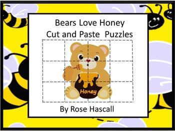 Bears Love Honey Cut and Paste Puzzles P-K,K,Special Educa