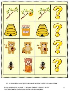 Bears Love Honey  File Folder Games