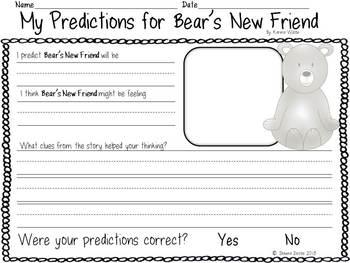 Predicting Freebie inspired by Bear's New Friend by Karma Wilson