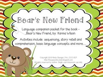 Bear's New Friend - Speech and Language Companion Packet