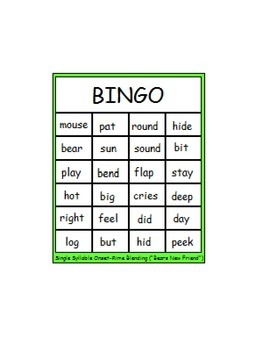 """Fun with Words:  """"Bear's New Friend"""" Single Syllable Onset-Rime Blending BINGO"""