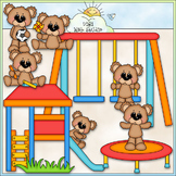Bears Playing Outside - CU Clip Art & B&W Set