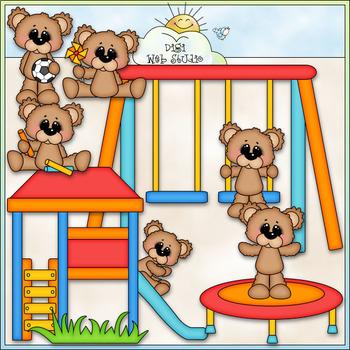 Bears Playing Outside - CU Clip Art & B&W Set