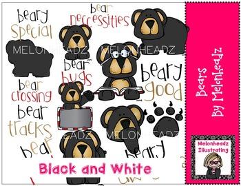 Bears clip art - BLACK AND WHITE- by Melonheadz