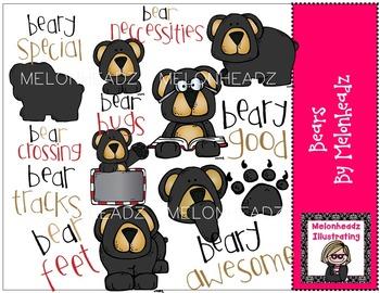 Melonheadz: Bears clip art - COMBO PACK