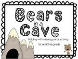 Math Stations: Bears in a Cave - Adding with missing parts activity