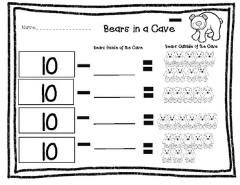 Bears in a Cave worksheet