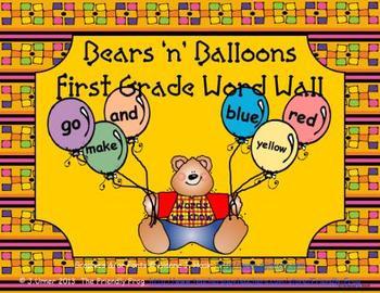 Bears 'n' Balloons First Grade Word Wall