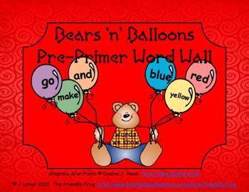 Bears 'n' Balloons Pre-Primer Word Wall