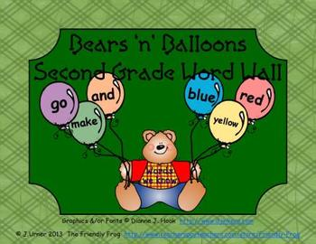Bears 'n' Balloons Second Grade Word Wall