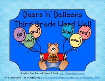 Bears 'n' Balloons Third Grade Word Wall