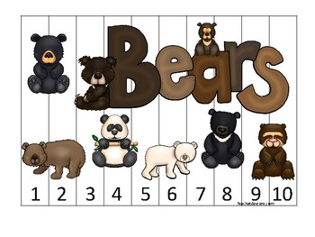 Bears themed 1-10 Number Sequence Puzzle Game. Printable Preschool