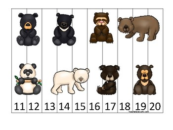 Bears themed 11-20 Number Sequence Puzzle Game. Printable Preschool