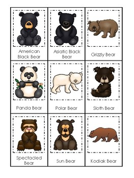 Bears themed 3 Part Matching Game.  Printable Preschool Game