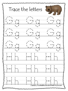 Bears themed A-Z Tracing Worksheets.Printable Preschool Handwriting