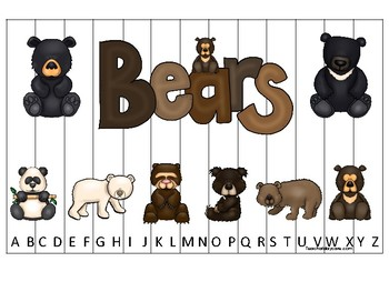 Bears themed Alphabet Sequence Puzzle Game. Printable Preschool Gam