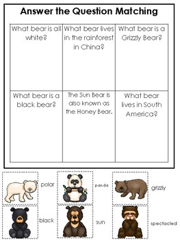 Bears themed Answer the Question Game.  Printable Preschool Game