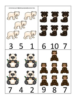 Bears themed Count and Clip Game.  Printable Preschool Game
