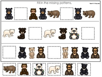 Bears themed Fill In the Missing Pattern Game. Printable Preschool Game.