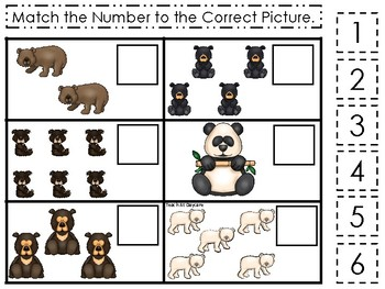 Bears themed Match the Number Game. Printable Preschool Game