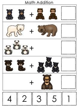 Bears themed Math Addition Game. Printable Preschool Game