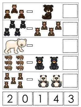 Bears themed Math Subtraction Game. Printable Preschool Ga