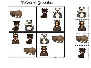 Bears themed Picture Sudoku Game. Printable Preschool Game