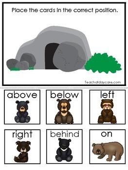 Bears themed Positional Word Game. Printable Preschool Game