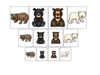 Bears themed Size Sorting. Printable Preschool Game