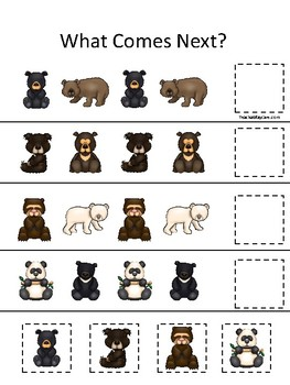 Bears themed What Comes Next. Printable Preschool Game