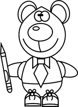 Bears with a Pencil Clip Art
