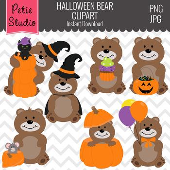 Bears with Pumpkins Clipart, Halloween Clipart, Teddy Bear Clipart - Fall141
