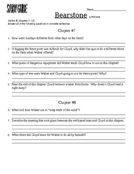 Bearstone novel study guide section 1 chapter 1-6 will hobbs by.